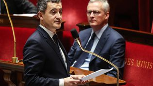 Gérald Darmaninà la tribune de l'Assemblée nationale, le 19 mars 2020,à Paris. (LUDOVIC MARIN / AFP)