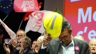 L'ancien syndicaliste de Florange Edouard Martin donne un meeting à Metz, le 13 mai 2014, en tant que tête de liste socialiste aux européennes pour la région Grand Est. (JEAN-CHRISTOPHE VERHAEGEN / AFP)