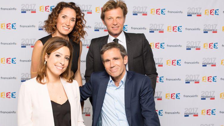 Photo des présentateurs de France 2, Laurent Delahousse, Léa salamé, Marie-Sophie Lacarrau, David Pujadas, à Paris le 18 avril 2017. (DELPHINE_GHOSAROSSIAN)