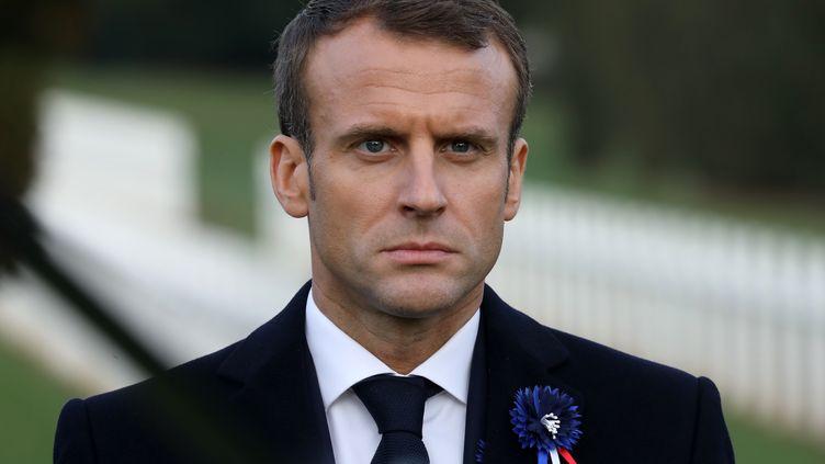 Emmanuel Macron, à l'ossuaire de Douaumont, près de Verdun, le 6 novembre 2018. (LUDOVIC MARIN / AFP)