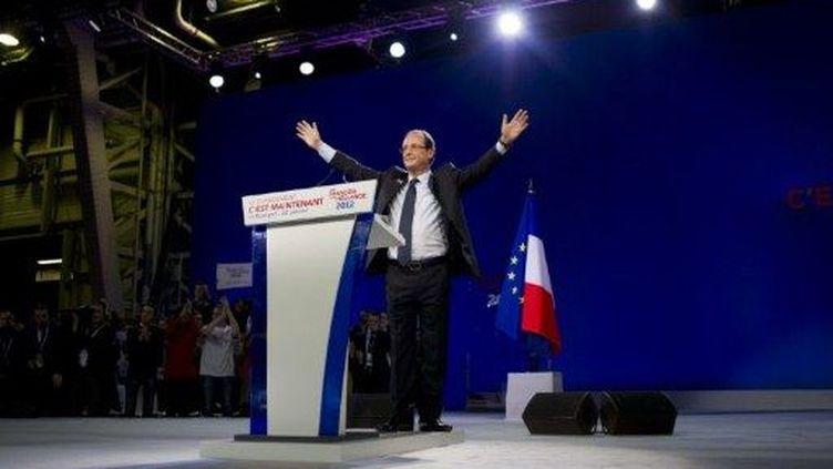François Hollande tient son premier grand discours, au Bourget, le 22 janvier 2012. (AFP - Fred Dufour)