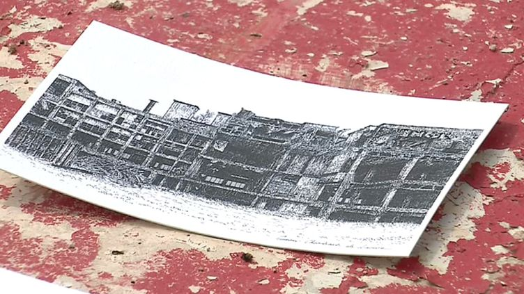 Dessin de l'ancienne usine Rhodiacéta de Besançon de Marion Chombart de Lauwe (F. Petit / France 3)