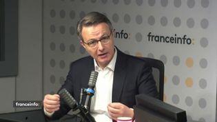 Dominique Schelcher, président de Système U, était l'invité de franceinfo le jeudi 14 octobre. (FRANCEINFO / RADIOFRANCE)