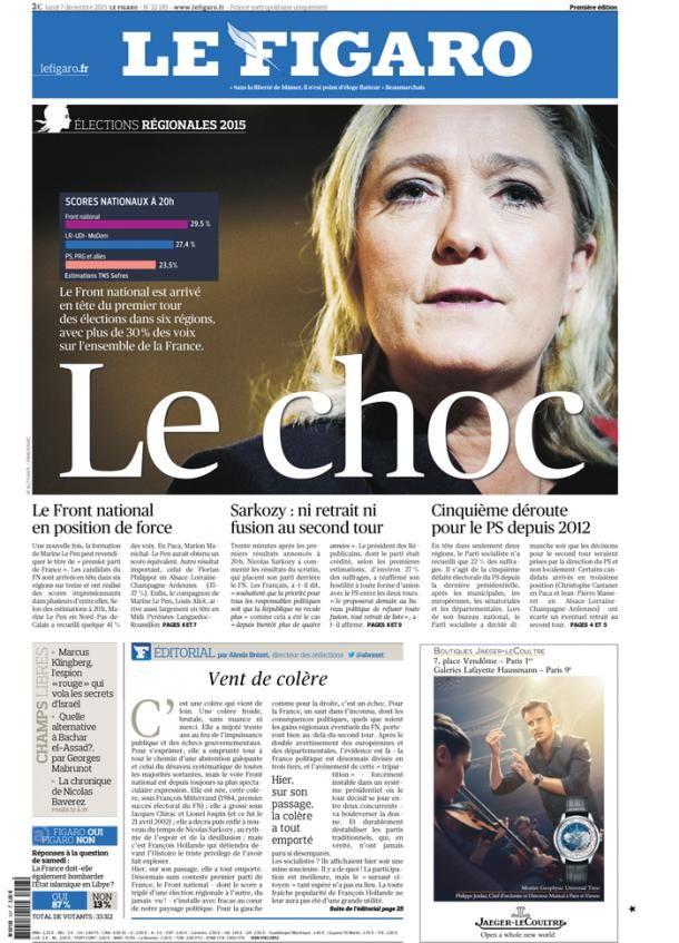 """Une du """"Figaro"""" daté du lundi 7 décembre 2015. (LE FIGARO)"""