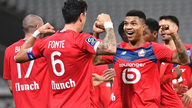La joie des Lillois après leur victoire face à Bordeaux dimanche. (DENIS CHARLET / AFP)