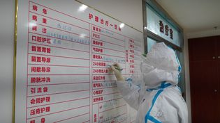 Un médecin liste les traitements administrésà des patients atteints du nouveau coronavirus Covid-19, dans un hôpital de Jiangxi (Chine), le 18 février 2020. (HU CHENHUAN / XINHUA / AFP)