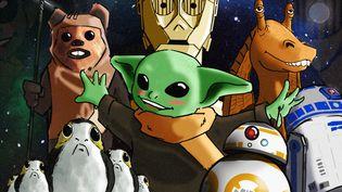 Les personnages mignons de la saga Star Wars : de gauche à droite, les Porgs, un Ewok, Baby Yoda, C3PO, BB-8, Jar Jar Binks et R2D2. (PIERRE-ALBERT JOSSERAND / FRANCEINFO)