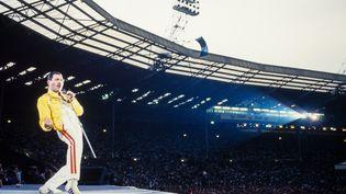 Le chanteur de Queen Freddie Mercury, sur la scène de Wembley (Londres), le 11 juillet 1986. (FG/BAUER-GRIFFIN / MICHAEL OCHS ARCHIVES)