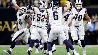 Les Los Angeles Rams fêtent leur victoire face aux New Orleans Saints, le 20 janvier 2019, à La Nouvelle-Orléans (Louisiane). (STREETER LECKA / GETTY IMAGES NORTH AMERICA / AFP)