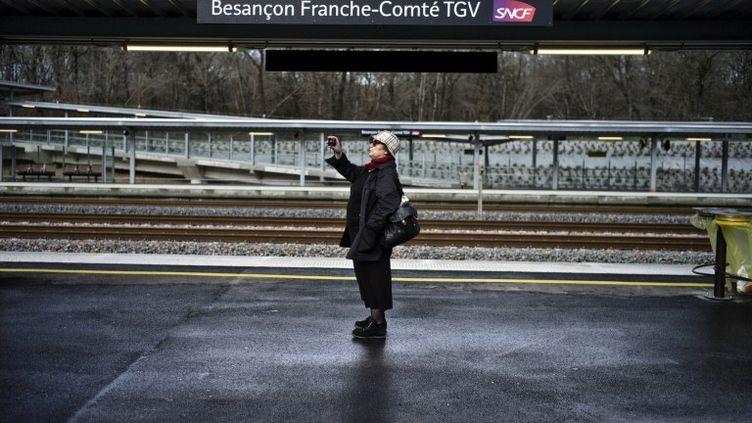 Sur les quais de la Besançon Franche-Comté, desservie par le nouveau TGV Rhin-Rhône, le 12 décembre 2011. (JEFF PACHOUD / AFP)