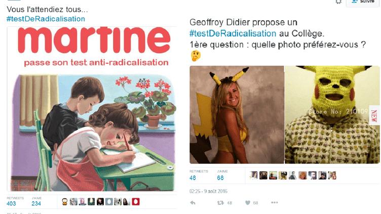 """Le """"test de radicalisation"""", moqué sur Twitter. (CAPTURE D'ÉCRAN TWITTER)"""