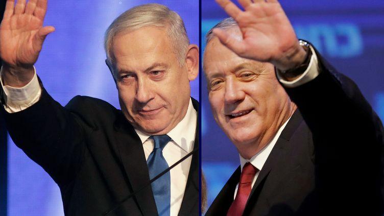 Benyamin Nétanyahou et Benny Gantz lors de meetings à Tel-Aviv (Israël). (EMMANUEL DUNAND / AFP)