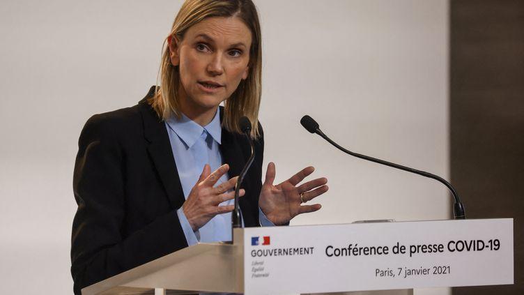 Agnès Pannier-Runacher,ministre déléguée chargée de l'Industrie,lors d'une conférence de presse à Paris, le 7 janvier 2021, (LUDOVIC MARIN / AFP)