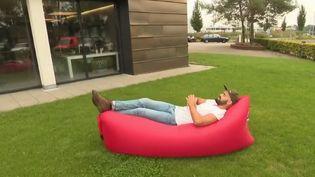 Vous avez sûrement déjà vu ce canapé coloré gonflé avec de l'air sur une plage, le fameux pouf gonflable inventé par un jeune Néerlandais. Victime de son succès il souffre de nombreuses contrefaçons. (FRANCE 2)