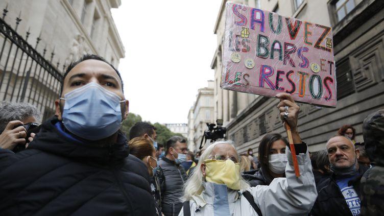 Une manifestation à l'appel de l'UMIH, à Marseille, le 25 septembre 2020. (SPEICH FREDERIC / MAXPPP)