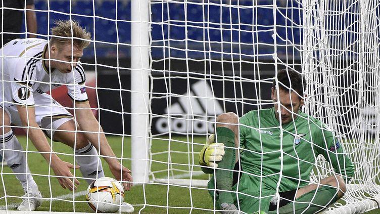 Alexander Soderlund, ici sous le maillot de Rosenborg, venant de marquer un but devant la Lazio Rome  (MAURIZIO BRAMBATTI / ANSA)