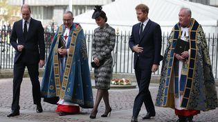 Le prince William et Harry et la duchesse de Cambridge Kate à l'abbaye de Westminster de Londres, le 5 avril 2017 (DANIEL LEAL-OLIVAS / AFP)