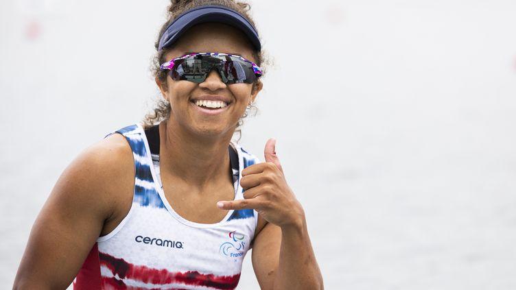 Nélia Barbosa, médaillée d'argent des Jeux paralympiques de Tokyo en para canoë sur le 200 mètres en catégorie KL3, samedi 4 septembre 2021. (@G.MIRAND)