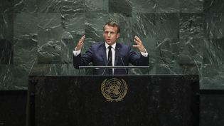 Le président français Emmanuel Macron prononce un discours à la tribune de l'ONU, à New York (Etats-Unis), le 24 septembre 2019. (DREW ANGERER / GETTY IMAGES NORTH AMERICA / AFP)