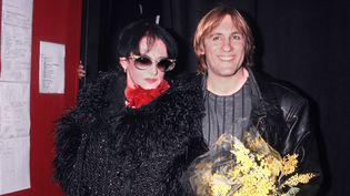 """Barbara et Gérard Depardieu après leur spectacle """"Lily Passion"""" en 1986  (Dominique Aubert)"""