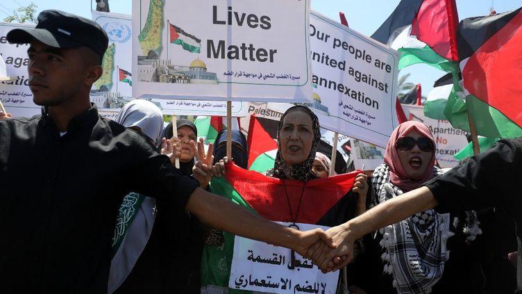 Manifestationà Gaza contre le projetd'annexion d'une partie de la Cisjordanie par Israël le 1er juillet 2020. (MAJDI FATHI / NURPHOTO / AFP)