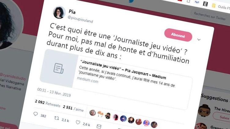 Pia Jacqmart explique avoir été harcelée dans plusieurs médias spécialisés dans les jeux vidéo et agressée sexuellement par un collègue dans un témoignagepublié sur internet, le 13 février 2019. (@PIOUPIOULAND / TWITTER)