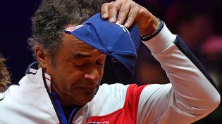 Le capitaine de l'équipe de France de tennis, Yannick Noah, lors de la finale de la Coupe Davis contre la Croatie, dimanche 25 novembre 2018. (PHILIPPE HUGUEN / AFP)