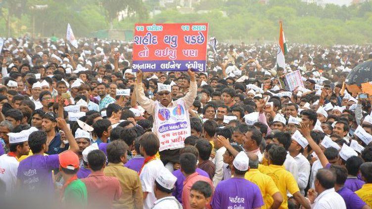 Manifestation des Patidars à Ahmedabad, principale ville de l'Etat du Gujarat (Ouest de l'Inde) le 25 août 2015 (CITIZENSIDE/PRASHANT)