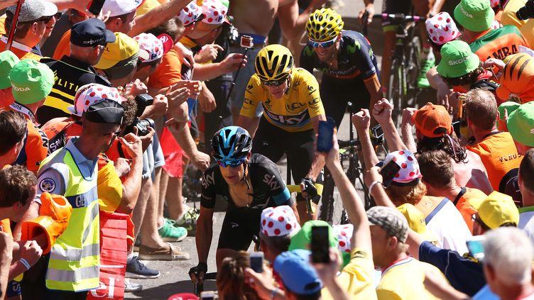 Richie Porte, Chritopher Froome et Alejandro Valverde, sur la 20e étape du Tour de France, le 25 juillet 2015. (DE WAELE TIM / TDWSPORT SARL / AFP)