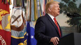 Donald Trump, le 27 octobre 2019, lors d'une allocution depuis la Maison Blanche, à Washington, aux Etats-Unis. (JOSHUA ROBERTS / REUTERS)