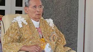 Le roiBhumibol Adulyadej lors d'une cérémonie pour son 86e anniversaire à Hua Hin, en Thaïlande, le 5 décembre 2013. (THAI ROYAL BUREAU / THAI ROYAL BUREAU / AFP)