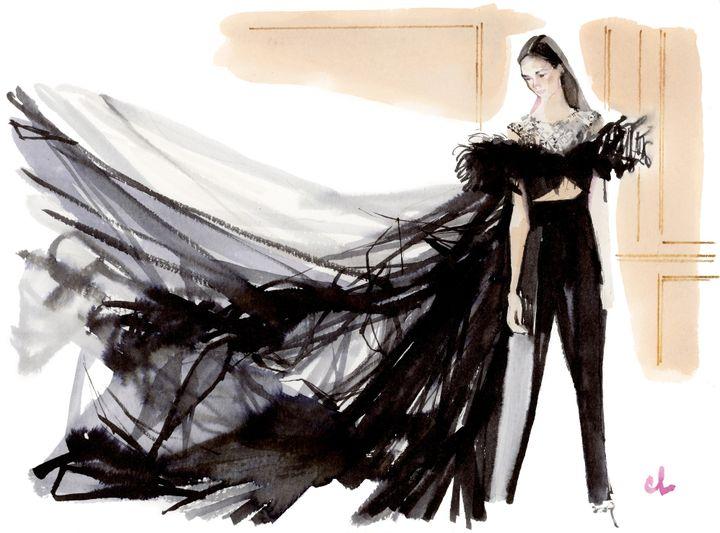 Marc-Antoine Coulon croque Giambattista Vallpour la Fashion Week de juillet 2018 pour Madame Figaro  (Marc-Antoine Coulon / pour Madame Figaro)