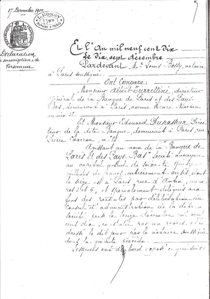 La première page de la déclaration notariée de souscription au capital de la régie co-intéressée des tabacs au Maroc. (Avec l'aimable autorisation de M. Yann Bisiou / Archives Paribas)