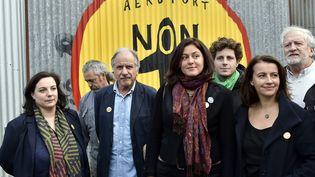 Emmanuelle Cosse, Noël Mamère, Sophie BringuyetCécile Duflot du parti écologiste EELV le 4 novembre 2015 à Notre-Dames-des-Landes. (GEORGES GOBET / AFP)
