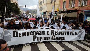 Une manifestation à Ajaccio, à l'appel des représentants de l'Assemblée de Corse, le 3 février 2018. (YANN BERNARD / FRANCE 3 CORSE VIASTELLA)