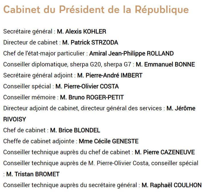 La composition du cabinet d'Emmanuel Macron, disponible sur le site de l'Elysée. (ELYSEE)