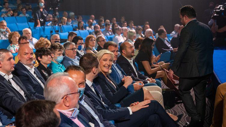 Marine Le Pen au congrés du RN, le 4 juillet 2021. (OLIVIER GOT / MAXPPP)