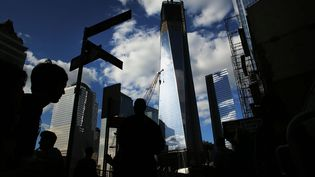 "La ""Freedom tower"" en construction, le 10 septembre 2012 à New York (Etats-Unis), le plus hauts des quatre gratte-ciels du nouveau World Trade Center. (SPENCER PLATT / GETTY IMAGES / AFP)"