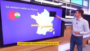 Plusieurs cas du variant indien ont été détectés en France. Une nouvelle ombre au tableau alors que se profile l'éclaircie de la vaccination pour tous à l'horizon du 15 juin prochain. (FRANCEINFO)