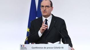 Le Premier ministre, Jean Castex, s'exprime en conférence de presse, le 4 mars 2021, à Paris. (ALAIN JOCARD / AFP)