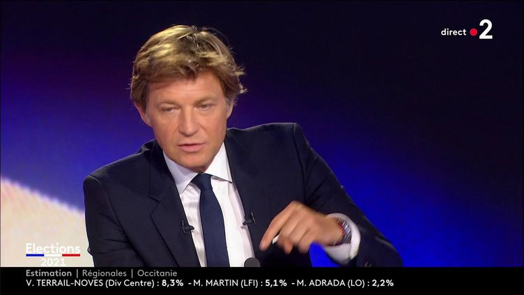 Laurent Delahousse lors de la soirée électorale de France 2, le 20 juin 2021. (FRANCE 2)