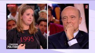 """Charline Vanhoenacker et Alain Juppé, lors de """"L'Emission politique"""", jeudi 6 octobre 2016. (FRANCE 2)"""