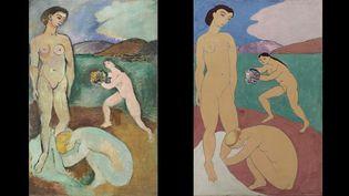 Henri Matisse, à droite, Le Luxe I, Collioure, été 1907, Centre Pompidou, Musée national d'art moderne, à gauche Le Luxe II, Paris, hiver 1907, Don de Johannes Rump, Statens Museum for Kunst, Copenhague  (Succession H. Matisse)
