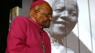 L'archevêque anglican sud-africainDesmond Tutu, le 30 juillet 2013, au Cap (Afrique du Sud), lors d'une exposition consacrée à l'héritage laissé parNelson Mandela. ( AFP)