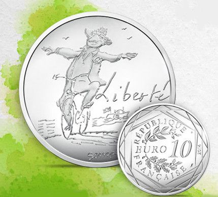 Une pièce en argent illustrant la passion de Sempé pour le vélo...  (Capture d'écran du site de la Monnaie de Paris)