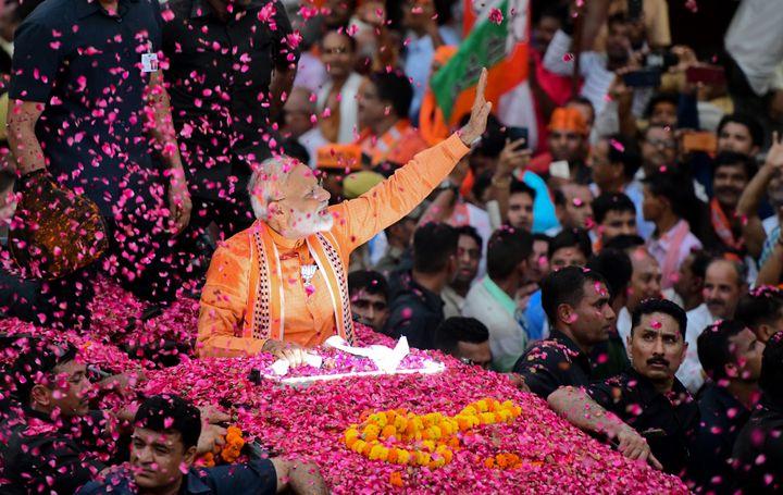 Narendra Modi, le premier ministre indien, le 25 avril 2019 à Varanasi (Inde). (SANJAY KANOJIA / AFP)