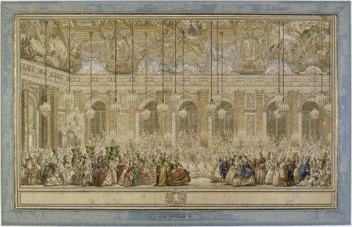 Bal masqué donné pour le mariage du dauphin -Charles Nicolas Cochin le Jeune Vers 1745 - Encre brune,rehauts de blanc, aquarelle avec lavis gris, plume  (RMN-Grand Palais (musée du Louvre) / Michèle Bellot )