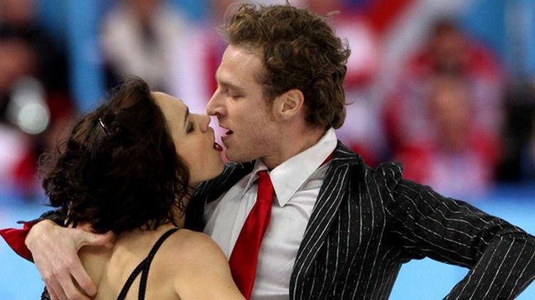 Nathalie Péchalat et Fabian Bourzat pendant la danse courte (POOL / KMSP)