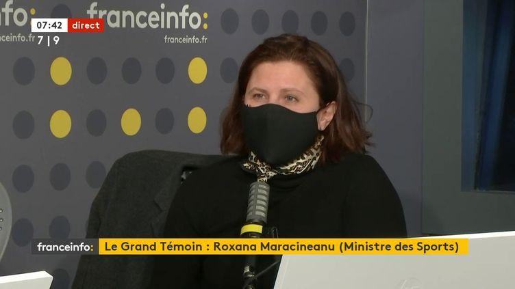 Roxana Maracineanu, ministre déléguée chargée des Sports sur franceinfo le 25 mars 2021.  (FRANCEINFO / RADIOFRANCE)