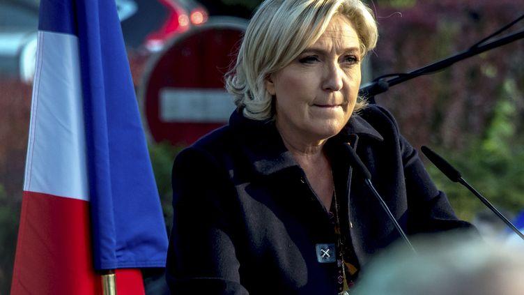 Marine Le Pen, le 4 mai 2017 en campagne àEnnemain (Somme). (PHILIPPE HUGUEN / AFP)